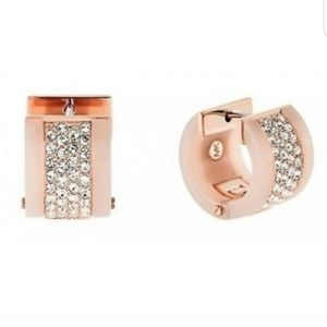 RARE Michael Kors Bejeweled Blush Huggie Earrings
